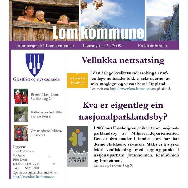 Forsida Lomsnytt nr. 2 2009