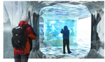 Denne illustrasjonen syner at det vil bli ein spektakulær vandring inn i isen under Juvfonna