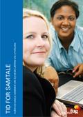 Bilde av to kvinner ved et bord med en bærbar PC på. Dette er forsiden av heftet Tid for samtale. Hjem og skole sammen om elevenes læring og utvikling