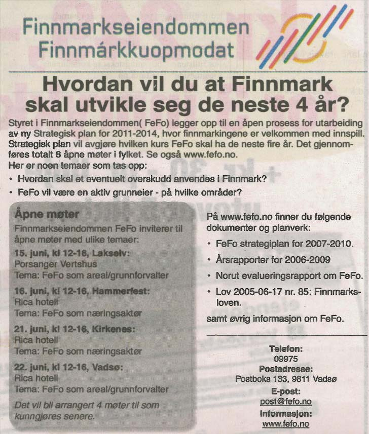 Fefos annonse om pne mter   Kirkenes  21  06  2010