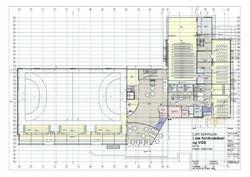 Førprosjekt. Teikning av 1. etasje med hovudinngong.