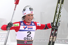 Marit Bjrgen etter gullet p 15 km med skibytte i Oslo-VM 2011. Foto: Hemmersbach/NordicFocus.