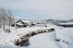 vinter, bredt, huse
