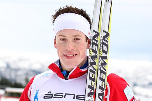 Oppsiktsvekkende 2. plass til Andrew Musgrave på 15 kilometeren under NM på Voss 2012. Foto: Geir Nilsen/Langrenn.com.