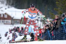 Martin Johnsrud Sundby på god vei mot NM-gullet på 30 km skiathlon i Voss 2012. Foto: Geir Nilsen/Langrenn.com.