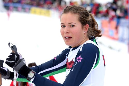 Britt Ingunn Nydal etter målgang på skiathlon under NM i Voss 2012. Foto: Geir Nilsen/Langrenn.com.