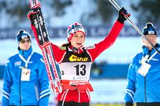 Heidi Weng tok første pallplass i verdenscupen på 15 km fellesstart med skibytte i Lahti, 2012. Foto: Laiho/NordicFocus