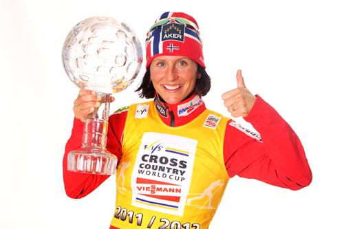 Marit Bjørgen vant verdenscupen sammenlagt 2011/2012. Foto: Hemmersbach/NordicFocus