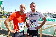 Jann Post, til venstre, leverte meget bra saker i Berlin Marathon i dag. Her er han med Thomas Alsgaard i forbindelse med gateløpet i Toppidrettsveka 2012. Foto: Aapo Laiho.