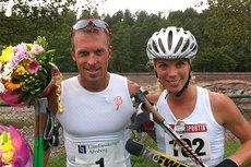 Anders Aukland og Sandra Hansson smiler etter å ha vunnet Alliansloppet 2012. Foto: Petter Skinstad.