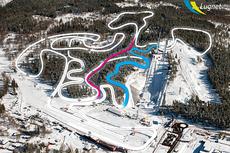 Det nye sporsystempet på Lugnet i Falun. Den røde strekningen er Mördarbacken og den blå strekningen viser den nye utforsbakken. Montage: Falu Kommun/Foto: Ulf Palm.