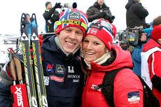 Anders Gløersen og Mari Eide på Beitosprintens første dag i 2012. Fredag åpner de hver sin sprintprolog på første dag av minitouren på Gålå. Foto: Erik Borg.