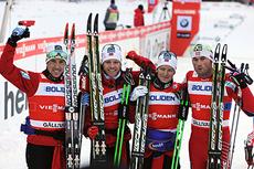Det ble norsk seier i herrestafetten i verdenscupen i Gällivare allerede i starten av denne sesongen. Fra venstre i etapperekkefølge: Eldar Rønning, Martin Johnsrud Sundby, Sjur Røthe og Petter Northug jr. Foto: Felgenhauer/NordicFocus.