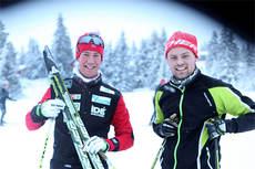 Kristian Tettli Rennemo til venstre, sammen med Tobias Dahl Fenre fra Fischer, på Sjusjøen i forbindelse med Skandinavisk Cup i desember 2012. Foto: Erik Borg.