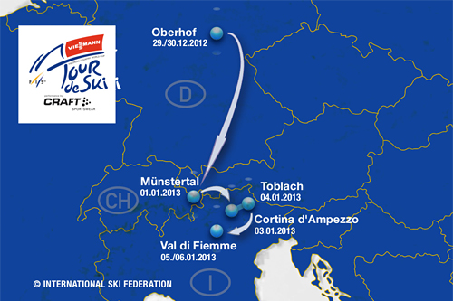 Oversiktskart for Tour de Ski 2012-2013. Illustrasjon: FIS - www.fiscrosscountry.com