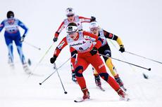 Ingvild Flugstad Østberg på vei mot 2. plass på 3. etappe av Tour de Ski 2012-2013 på 1. nyttårsdag i Val Müstair og Sveits. Foto: Felgenhauer/NordicFocus.