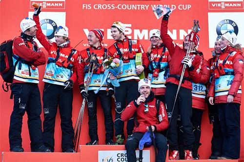 Norge ble beste nasjon i kampen mellom alle landene i Tour de Ski 2012-2013. Foto: Felgenhauer/NordicFocus.