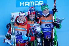 Seierspallen NM 2013, 10 km fri. Fra venstre: Therese Johaug (2. plass), Marit Bjørgen (1) og Astrid Uhrenholdt Jacobsen (3). Foto: Rasmus Kongsøre/Langrenn.com.