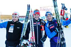 Seierspallen blant herrene under NM-sprinten på Gåsbu 2013. Fra venstre: Ånund Lid Byggland (2. plass), Pål Golberg (1) og Eirik Brandsdal (3). Foto: Rasmus Kongsøre/Langrenn.com.