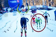 Mens Maiken Caspersen Falla jubler over NM-gullet på sprinten på Gåsbu er Marit Bjørgen i en uvant plassering i den røde ringen. For skidronninga ble det 3. plass. Foto: Rasmus Kongsøre/Langrenn.com.