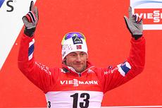 Petter Northug var godt fornøyd etter sølvmedalje i klassisk sprint under VM i Val di Fiemme 2013. Foto: Laiho/NordicFocus