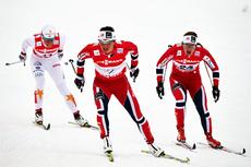 Marit Bjørgen i sprinten som endte med VM-gull i Val di Fiemme 2013. Like bak følger Ingvild Flugstad Østberg og Charlotte Kalla. Foto: Felgenhauer/NordicFocus.