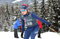 Julie Myhre inn til seier på 7,5 kilometer fri i klassen for kvinner 17 år under junior-NM på Lillehammer 2013. Foto: Erik Borg.
