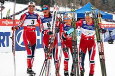 Disse løperne sørget for firedobbelt norsk i skiathlon under VM i Val di Fiemme 2013. Fra venstre: Kristin Størmer Steira (4.), Heidi Weng (3.), Therese Johaug (2.) og Marit Bjørgen (1.). Foto: Felgenhauer/NordicFocus