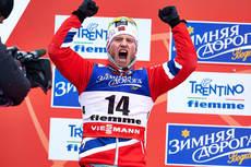 Martin Johnsrud Sundby jubler for sølvmedalje i skiathlon under verdensmesterskapet i Val di Fiemme 2013. Foto: Felgenhauer/NordicFocus