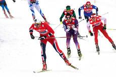 Fra lagsprinten i VM i Val di Fiemme 2013 hvor Petter Northug og Pål Golberg ble slått ut i semifinalen. Foto: Felgenhauer/NordicFocus