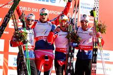 Norges gull-gutter på VM-stafetten i Val di Fiemme. Fra venstre: Sjur Røthe (3. etp.), Petter Northug jr. (4), Eldar Rønning (2) og Tord Asle Gjerdalen (1). Foto: Laiho/NordicFocus.