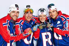 Norges gull-gutter på VM-stafetten i Val di Fiemme. Fra venstre i etappe-rekkefølge: Tord Asle Gjerdalen, Eldar Rønning, Sjur Røthe og Petter Northug jr. Foto: Felgenhauer/NordicFocus.