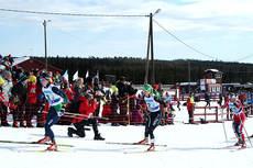 Celine Brun-Lie leder an i det ene semifinaleheatet under NM teamsprint på Budor. Foto: Erik Borg.