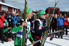 Tuva Toftdahl Staver (nærmest kamera) og Ragnhild Haga sørget for NM-gull til IL Heming på lagsprinten i mesterskapet på Budor 2013. Foto: Erik Borg.