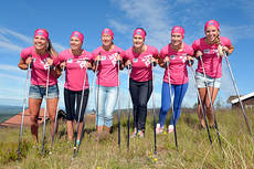 TEAM SkiProAm er et nytt langløpslag bestående av kun kvinneløpere, blant andre norske Solfrid Braathen. Foto: TEAM SkiProAm.