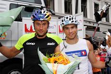 Petter Northug jr. til venstre og hans bror Tomas vant sprintstafetten i Kirkebakken Grand Prix 2013. Foto: Geir Nilsen/Langrenn.com.