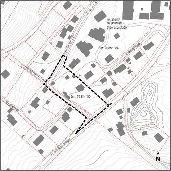 Bildet syner avgrensing av planområdet