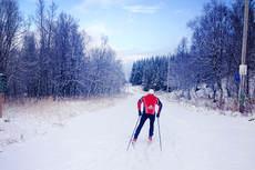 Sander Fladseth, skiskytter ved NTG Tromsø, ute på ski i Tromsømarka tirsdag 15. oktober 2013, i år var det muligheter allerede 22. september 2014. Foto: Henrik Romsaas.