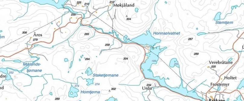 Kart over deler av Iveland kommune