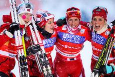 Norges vinnerlag i verdenscupstafetten på Lillehammer 2013. Fra venstre: Kristin Størmer Steira (2. etappe), Heidi Weng (1), Marit Bjørgen (4) og Therese Johaug (3). Foto: Laiho/NordicFocus.