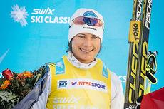 Seraina Boner smiler etter å ha vunnet første renn i Swix Ski Classics 2014, La Diagonela i Sveits. Foto: Magnus Östh/Swix Ski Classics.