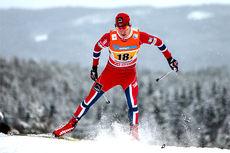 Petter Eliassen ute i løypene under verdenscupen på Lillehammer i desember 2014. Foto: Laiho/NordicFocus.