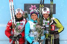 De tre medaljørene på 10 kilometer klassisk under NM del 1 i Lillehammer 2014. Fra venstre: Heidi Weng (2), Therese Johaug (1) og Marit Bjørgen (3). Foto: Geir Nilsen/Langrenn.com.