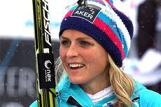 Therese Johaug etter at hun tok gull på 10 kilometer klassisk under NM del 1 i Lillehammer 2014. Foto: Geir Nilsen/Langrenn.com.