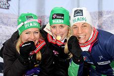 IL Hemings gulljenter fra NM-stafetten 2014. Fra venstre: Tuva Toftdahl Staver, Ragnhild Haga og Astrid Uhrenholdt Jacobsen. Foto: Geir Nilsen/Langrenn.com.
