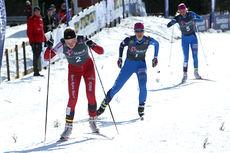 Inger Bonden går i mål som vinner av 18-årsklassen på 7,5 km skiathlon under NM del 2 på Budor 2013. Foto: Erik Borg.