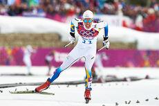 Marcus Hellner spurter inn til 2. plass og sølvmedalje på 30 km skiathlon i Sotsji-OL 2014. Foto: NordicFocus.