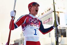 Ola Vigen Hattestad jubler vilt etter å ha vunnet OL-sprinten i Sotsji 2014. Foto: NordicFocus.