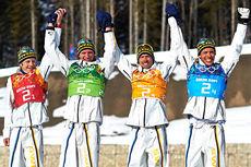 Sverige har lykkes bra i OL-stafetter de siste årene, men i VM-sammenheng har det vært tørke. Dette er deres gullag fra stafetten under OL i Sotsji 2014. Fra venstre: Lars Nelson, Daniel Richardsson, Johan Olsson og Marcus Hellner. Foto: NordicFocus.