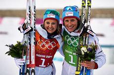 Ingvild Flugstad Østberg (t.v.) og Marit Bjørgen ble olympiske mestere i lagsprint under OL i Sotsji 2014. Foto: NordicFocus..jpg